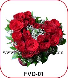 bunga valentine bentuk hati